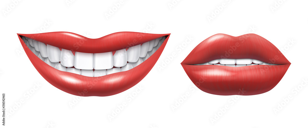 Fototapeta Realistic smile. Woman laughing mouth with white teeth and lips, oral healthcare and make up model. Vector human beauty smile illustration, beautiful girl smiles image on white background