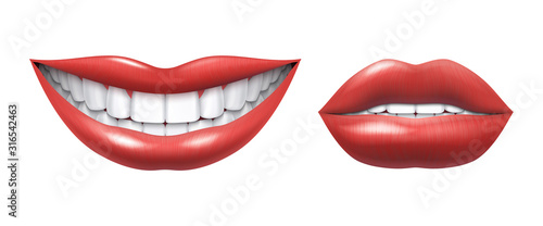 Obraz Realistic smile. Woman laughing mouth with white teeth and lips, oral healthcare and make up model. Vector human beauty smile illustration, beautiful girl smiles image on white background - fototapety do salonu