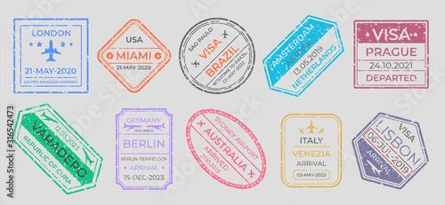 Obraz Passport stamps. International travel visa marking, business travel and immigration vintage labels. Vector airport stamp set world city travel arrivals symbol stamping traveling on gray background - fototapety do salonu