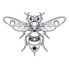 Mechanical Bee Steampuk Illustration, Tshirt Design And Coloring Book