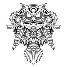 Owl Steampunk Illustration And Tshirt Design