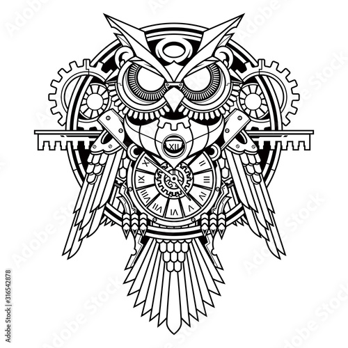 Lerretsbilde owl steampunk illustration and tshirt design