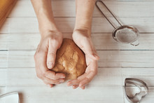 Woman Kneads Dough With Hands ...