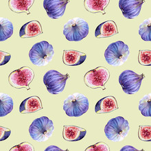 Seamless Pattern With Purple Fig Fruits On A Light Background, Watercolor Illustration