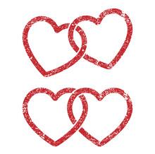 Grunge Stamp Style Locked, Linked Love Heart Shape Vector Icon Sign. Isolated On White Background. Like, Weddings Hearts Logo Symbol Image.