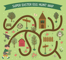 Easter Egg Hunt Map. Set Of Fl...
