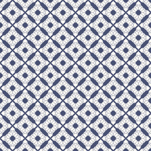 Vector Floral Seamless Pattern. Abstract Decorative Texture With Small Flower Silhouettes, Curved Shapes, Lace, Tissue. Deep Blue And White Background. Elegant Geometric Ornament. Repeatable Design