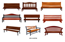 Set Of Realistic Bench Wood Ga...