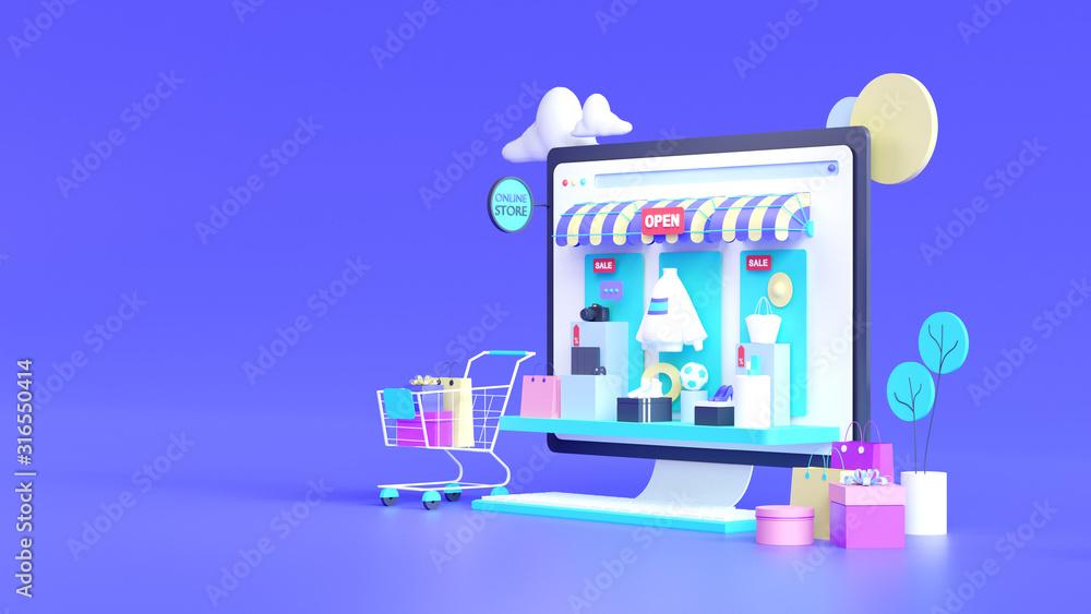 Fototapeta Shopping on-line online store on website mobile application 3d rendering