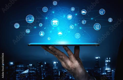 Valokuvatapetti Omni channel technology of online retail business
