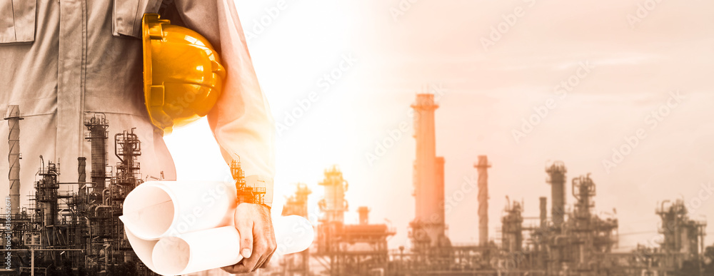 Fototapeta Future factory plant and energy industry concept in creative graphic design. Oil, gas and petrochemical refinery factory with double exposure arts showing next generation of power and energy business.
