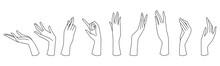Womans Hand Line Art Set Colle...