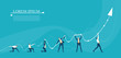 Business people holding up arrow, growth chart as symbol of working together, support and great achievement. Business concept illustration.