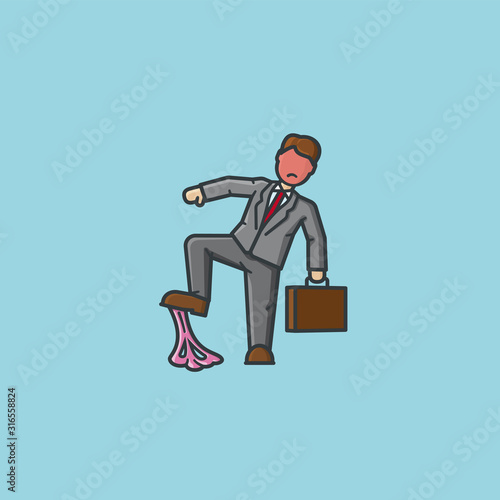 Businessman stepping in bubblegum vector illustration for Bubble Gum Day Canvas Print
