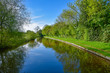 Scenic canal view of the Llangollen Canal near Whitchurch, Shropshire, UK