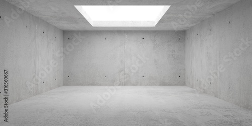 Obraz Abstract empty, modern concrete room with lighting from opening in the ceiling - industrial interior background template, 3D illustration - fototapety do salonu