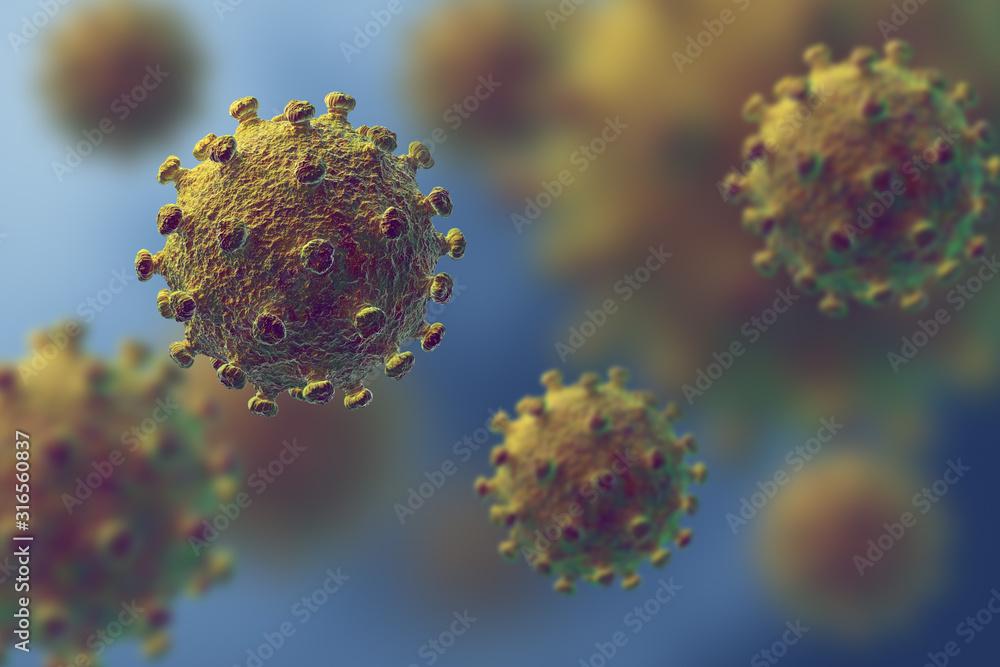Fototapeta Flu or HIV coronavirus floating in fluid microscopic view, pandemic or virus infection concept