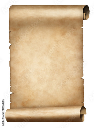 old parchment or papyrus scroll isolated on white Canvas Print