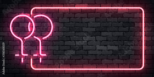 Fototapeta Vector realistic isolated neon sign of Lesbian symbol frame for template decoration and invitation covering on the wall background