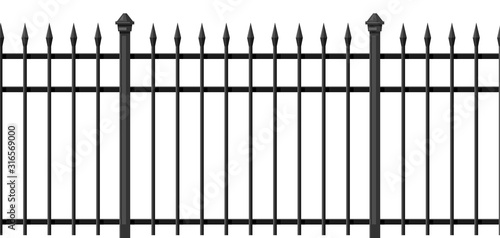 Tablou Canvas Illustration of metal forged fence.