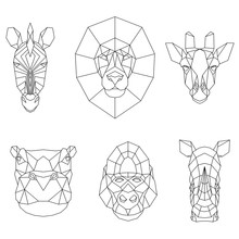 Polygonal Set Of African Anima...