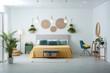 Leinwandbild Motiv Stylish room interior with large comfortable bed