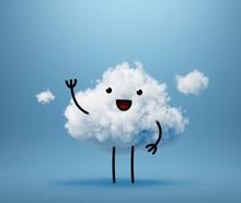 3d Render, Kawaii Cloud Charac...