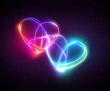 Pink Blue Neon Light Drawing, ...
