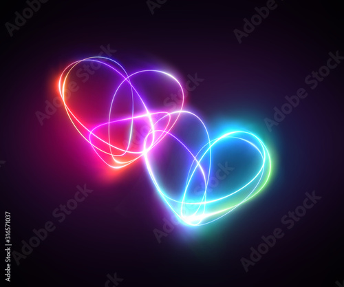 pink blue neon light drawing, couple of hearts, romantic symbols, abstract doodles isolated on black background. Glowing single line art. Modern minimal concept. Festive illustration for Valentine day
