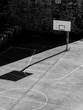 black and white urban basketball court