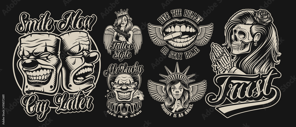 Fototapeta Set of vector illustrations in chicano tattoo style