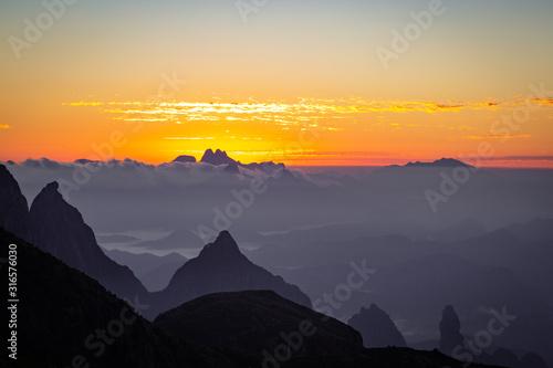 Natureza, Montanha, Paz, equilíbrio, por do sol Wallpaper Mural