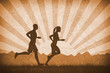 Man and woman running silhouettes. 2d flat landscape, retro vintage orange illustration. Sports and nature concept.