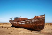 Abandoned Boat In Desert In Ar...