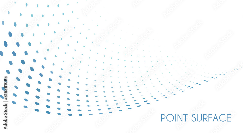 Fototapeta Minimal point surface. Blue dots on white background. Simple pattern