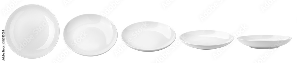 Fototapeta Empty plate, isolated on white background, clipping path, full depth of field