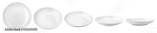 Obraz Empty plate, isolated on white background, clipping path, full depth of field - fototapety do salonu