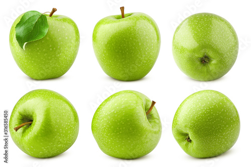 Fotomural Green juicy apple isolated on white background, clipping path, full depth of fie