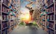 Leinwandbild Motiv New hidden world behind the library. Books open the mind for imagination