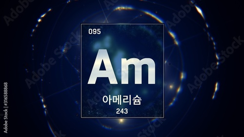 Photo 3D illustration of Americium as Element 95 of the Periodic Table