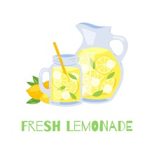Refreshing Lemonade Glass Jar With Straw And Pitcher With Lemons And Ice Cubes Vector Illustration. Fresh Lemonade Isolated On White Background And Typography.