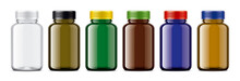 Set Of Colored Medical Bottles.