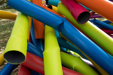 Many Colorful Pipes Twisted Together
