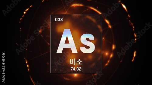 3D illustration of Arsenic as Element 33 of the Periodic Table Wallpaper Mural