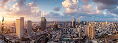 Tel Aviv Skyline At Sunset,  Tel Aviv Cityscape Large Panorama At Sunset Time, Israel #316592877