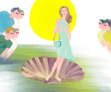 A Fun Parody Of A Botticelli 'Birth Of Venus' Painting With A Girl Being Admired By Many Guys When She Went Out In A Dress For The First Time In Spring