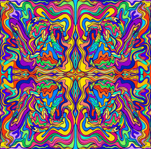 Psychedelic Colorful Surreal Doodle Fractal. Mirror Abstract Pattern, Maze Of Wavy Ornaments.