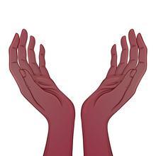 Open African American Hands. Occult Design Vector Illustration. Iink Tattoo Flash Design. Vector Illustration Isolated On White. Astrology, Sacred Spirit.