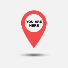 You Are Here Icon Isolated On White Background. Vector Illustration.