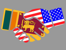 Sri Lanka And USA Flags Handsh...